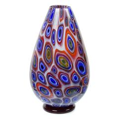 Vistosi Murano Opal Bullseye Murrines Italian Art Glass Flower Vase, Signed