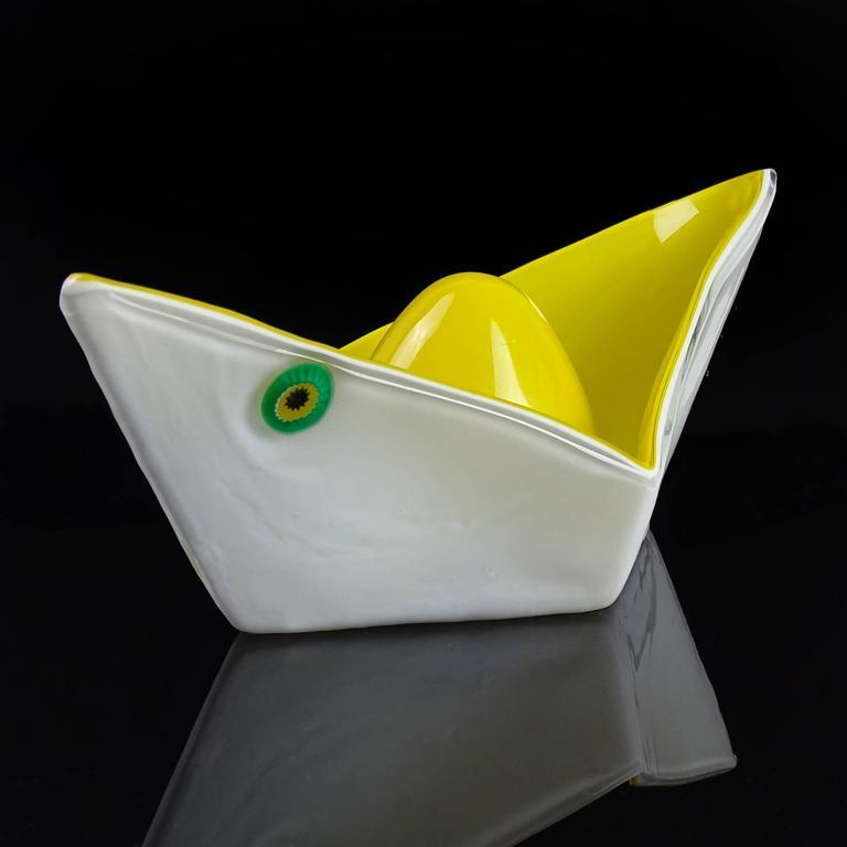 Mid-Century Modern Gino Vistosi Murano 1961 Origami Paper Boat Italian Art Glass Sculptural Bowl For Sale