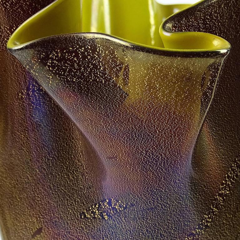 Rare large Murano hand blown black over bright yellow, iridescent and gold flecks Italian art glass fazzoletto vase. Attributed designer Flavio Poli, for Seguso Vetri d'Arte company. Measures 8