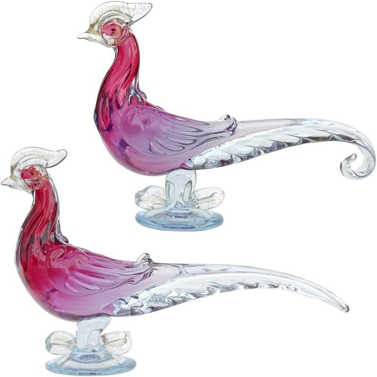 Alfredo Barbini Murano Purple Sommerso Italian Art Glass Bird Sculptures