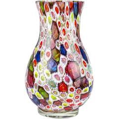 Fratelli Toso Murano Millefiori Flower Mosaic Italian Art Glass Flower Vase
