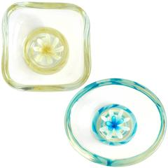 Fratelli Toso Murano Yellow Blue Italian Art Glass Flower Paperweight Bowls