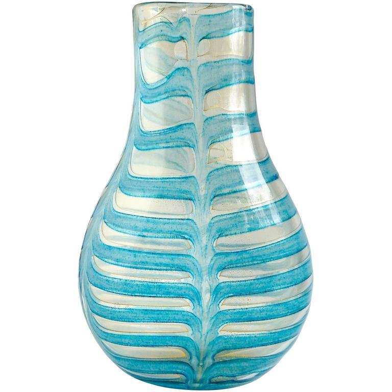 Barovier Toso Murano Blue Gold Flecks Italian Art Glass Flower Vase For Sale