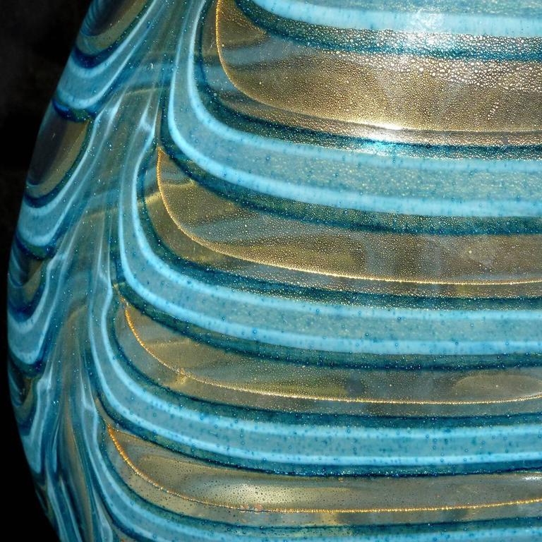 Mid-20th Century Barovier Toso Murano Blue Gold Flecks Italian Art Glass Flower Vase For Sale