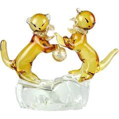 Murano Golden Amber Gold Flecks Italian Art Glass Double Kitty Cat Sculpture