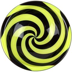 Fulvio Bianconi Venini Murano Yellow Black Optic Swirl Italian Art Glass Bowl
