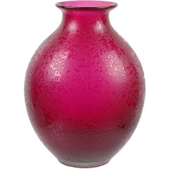 Flavio Poli Murano Fuchsia Red Corroso Surface Italian Art Glass Flower Vase