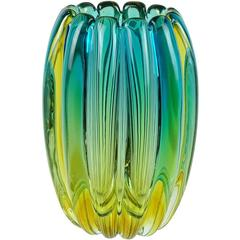 Alfredo Barbini Murano Sommerso Blue Green Ribbed Italian Art Glass Vase