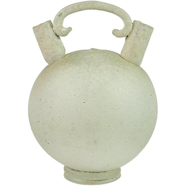 Seguso Vetri d'Arte Murano Scavo Texture Italian Art Glass Double Vase Jug