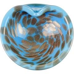 Murano Blue Copper Aventurine Flecks Italian Art Glass Decorative Bowl