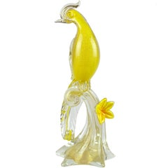 Barbini Murano Yellow Gold Flecks Italian Art Glass Bird of Paradise Sculpture