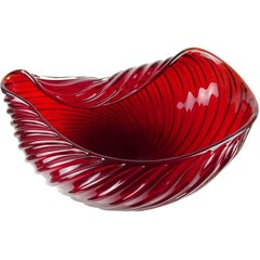 Archimede Seguo Murano 1955 Ruby Red Italian Art Glass Ribbed Centerpiece Bowl