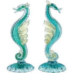 Alfredo Barbini Murano Sea Horse Hippocampus Italian Art Glass Sculptures