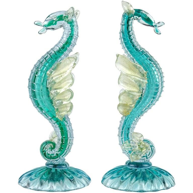 Alfredo Barbini Murano Sea Horse Hippocampus Italian Art Glass Sculptures