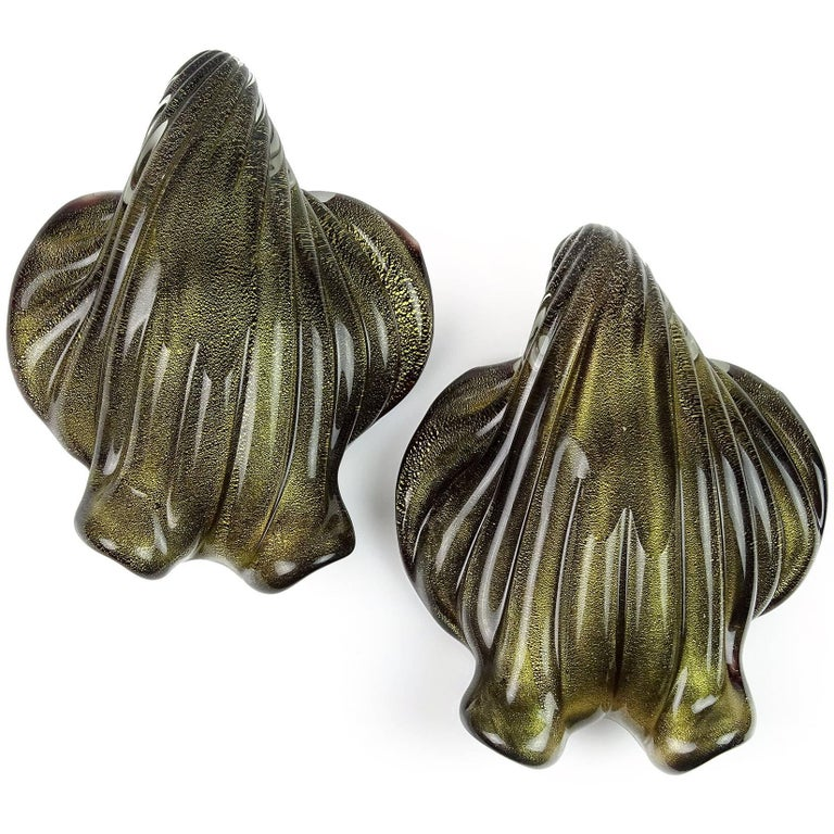 Mid-Century Modern Barbini Murano White Black Gold Italian Art Glass Seashell Sculptural Bowls For Sale
