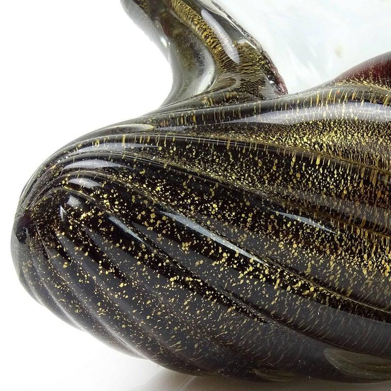 Barbini Murano White Black Gold Italian Art Glass Seashell Sculptural Bowls In Good Condition For Sale In Kissimmee, FL