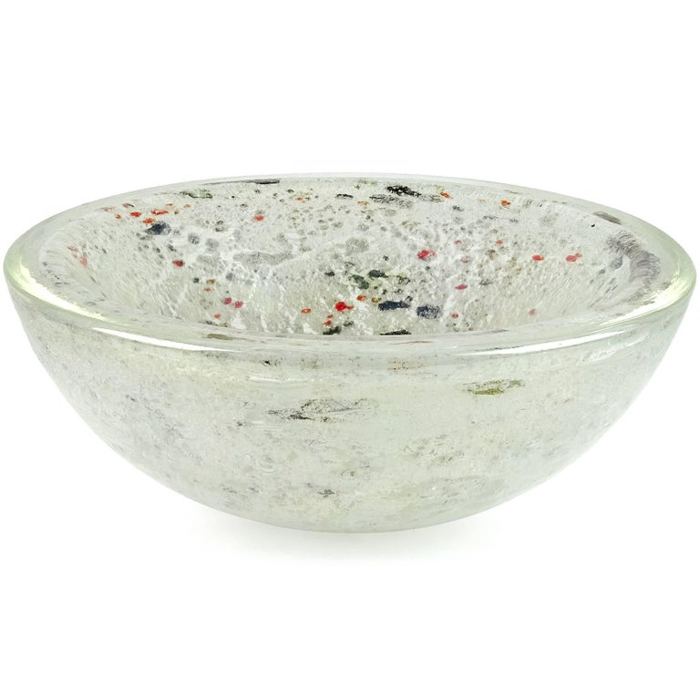 Mid-Century Modern Dino Martens Aureliano Toso Murano Iridescent White Gray Italian Art Glass Bowl For Sale