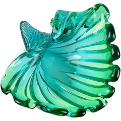Murano Sommerso Blue Green Italian Art Glass Flared Seashell Sculpture Bowl