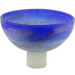 Cenedese Murano Blue White Scavo Texture Italian Art Glass Compote Bowl Vase