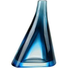 Salviati Murano Sommerso Cobalt Blue Italian Art Glass Cut Sides Flower Vase