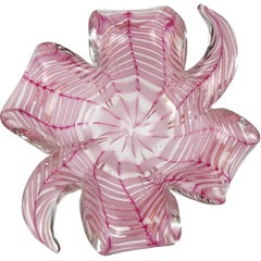 Barovier Toso Murano Pink Gold Flecks Italian Art Glass Spiderweb Bowl
