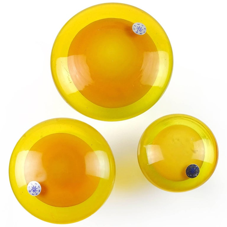 Murano Orange Yellow Italian Art Glass Mushroom Toadstool Paperweight Sculptures 3