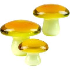 Murano Orange Yellow Italian Art Glass Mushroom Toadstool Paperweight Sculptures