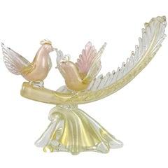 Alfredo Barbini Murano Pink Gold Flecks Italian Art Glass Birds Leaf Sculpture
