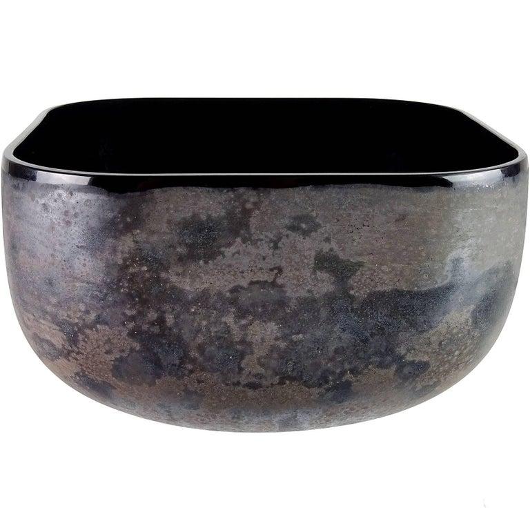 Alfredo Barbini Murano Black Scavo Texture Italian Art Glass Centrepiece Bowl For Sale