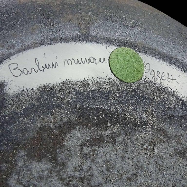 20th Century Alfredo Barbini Murano Black Scavo Texture Italian Art Glass Centrepiece Bowl For Sale