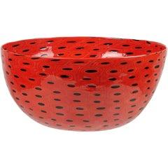 Vittorio Ferro Murano Red Black Bullseye Murrines Italian Art Glass Center Bowl