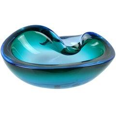 Alfredo Barbini Murano Sommerso Blue Green Italian Art Glass Decorative Bowl