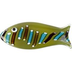 Ken Scott Venini Murano Olive Green Italian Art Glass Fish Paperweight Sculpture