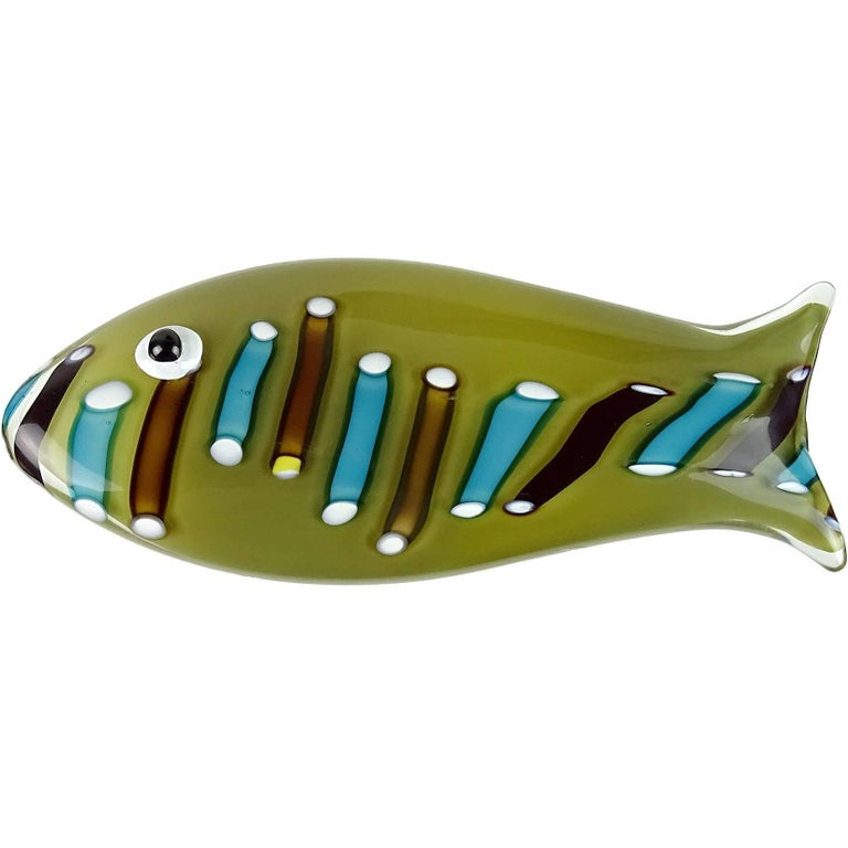 Ken Scott Venini Murano Olive Green Italian Art Glass Fish Paperweight Sculpture