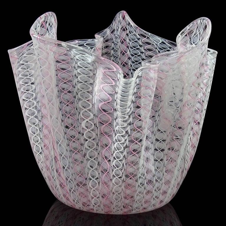 Beautiful large Murano hand blown pink and white Zanfirico ribbons Italian art glass fazzoletto / handkerchief vase. Documented to designers Fulvio Bianconi and Paolo Venini, and fully signed