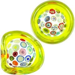 Archimede Seguso Murano Yellow Millefiori Canes Italian Art Glass Incalmo Bowls