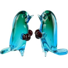 Cenedese Murano Sommerso Boxing Italian Art Glass Bird Figurine Sculptures