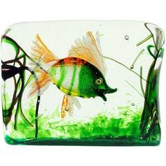 Cenedese Murano Green Orange Silver Flecks Italian Art Glass Fish Aquarium Block