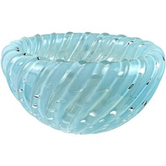 Toso Murano Opalescent Blue Bubbles Italian Art Glass Inverted Ribbed Bowl