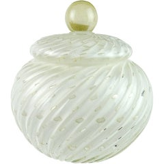 Alfredo Barbini Murano White Bubbles Gold Flecks Italian Art Glass Cookie Jar