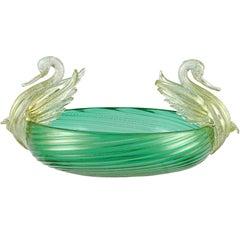 Murano Venetian Green Gold Flecks Italian Art Glass Double Swan Decorative Bowl