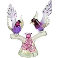 Barbini Murano Sommerso Purple Gold Flecks Italian Art Glass Birds Sculpture