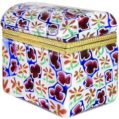 Murano Millefiori Clover Flower Mosaic Italian Art Glass Casket Jewelry Box