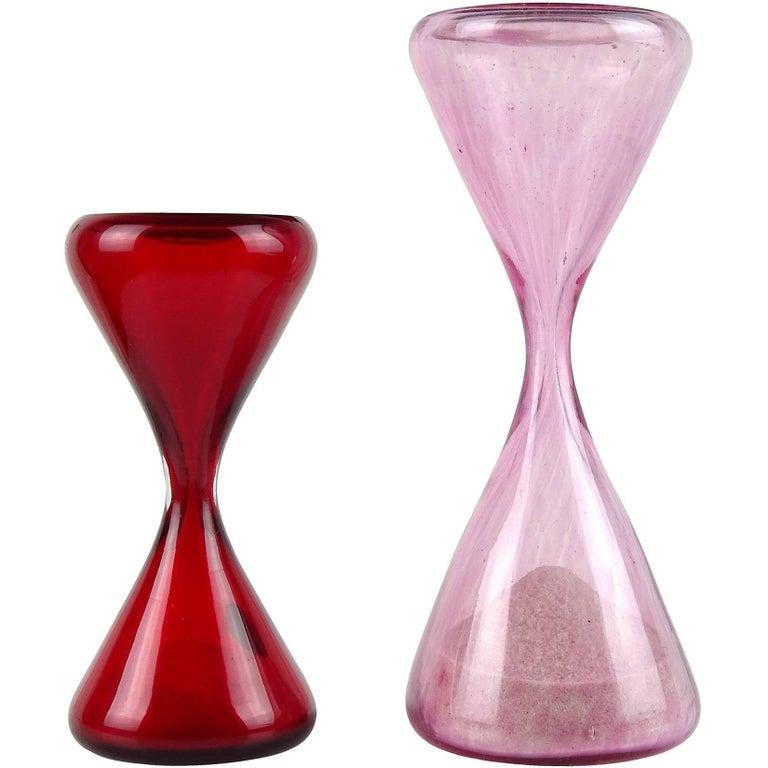 Murano Pink Spots Bright Red Italian Art Glass Sand Hourglass Clock Object Set