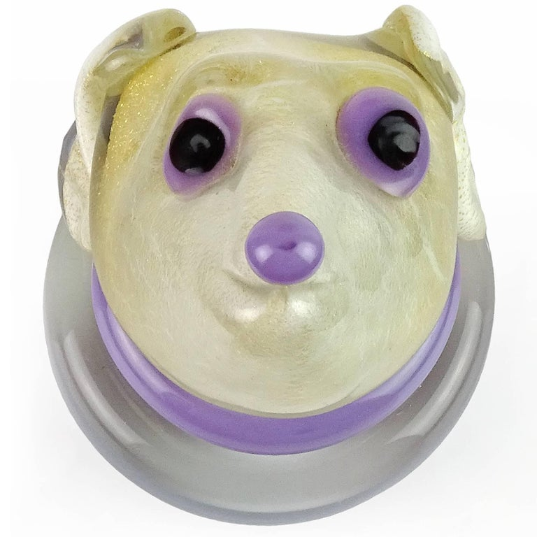 Beautiful and rare Murano hand blown white, gold flecks and purple accents Italian art glass puppy dog sculpture / paperweight. Attributed to designer Alfredo Barbini. Profusely covered in gold leaf, with clear base. Measures 5