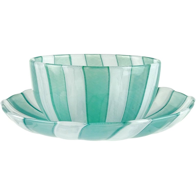Venini Murano Jade Green White Micro Ribbons Italian Art Glass Bowl Dish Set