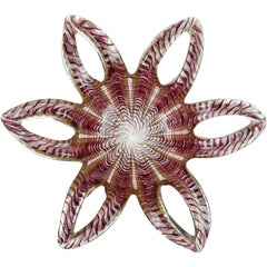 Barovier e Toso Murano Purple Gold Flecks Italian Art Glass Flower Star Bowl