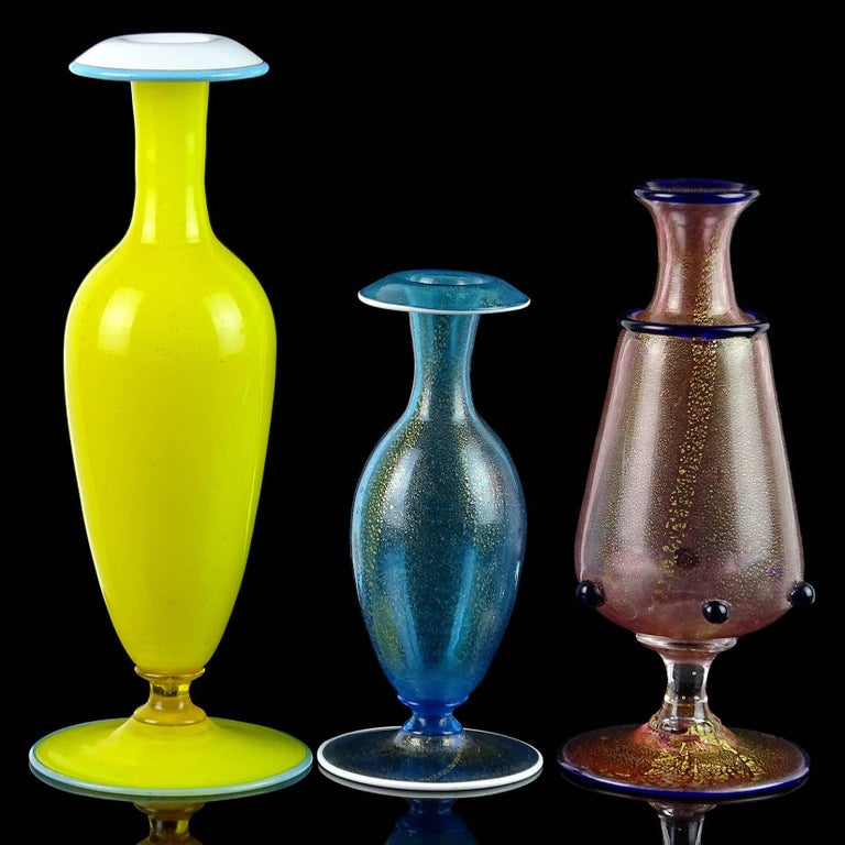 Venetian Murano Yellow Blue Pink Gold Flecks Italian Art Glass