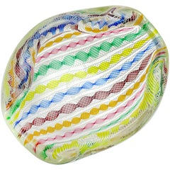 Archimede Seguso Murano White Rainbow Twisting Ribbons Italian Art Glass Bowl