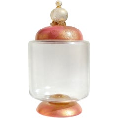 Barovier e Toso Murano Pink Gold Flecks, Italian Art Glass Candy Jar Container